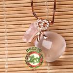 จี้ถุงทองแร่หินธรรมชาติ คริสตัสบราซิลสีชมพู