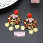 ต่างหูแฟชั่นสไตล์บาร็อค กุหลาบใหญ่สีแดง Baroque fashion earrings ceramic flower beauty head tassel nail night store