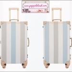 """กระเป๋าเดินทางดีไซน์วินเทจ อัพเกรด 4 ล้อ UNIWALKER """"Korean Stripe"""" +Limited Edition+ CREAM BLUE KOREAN STYLE for Winter 2016 Luggage&Suitcase ไซส์ 20"""", 24"""", 26"""" หนัง PU+ABS (Pre-order) ราคาสินค้าอยู่ด้านในค่ะ"""