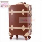 """กระเป๋าเดินทางดีไซน์วินเทจสไตล์เกาหลี วินเทจอัพเกรด 4 ล้อ Dark Brown/Beige Vintage Retro Suitcase Korea Style ไซส์ 20"""", 22"""", 24"""" หนัง PU (Pre-order) ราคาสินค้าอยู่ด้านในค่ะ"""