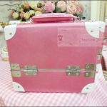 กระเป๋าเครื่องสำอางสีชมพูเข้ม Pearl Pink White Size M Make Up Box Korea Style ดีไซน์เมคอัพอาร์ทติสท์ by Korea