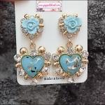 ต่างหูแฟชั่นสไตล์เกาหลี Baroque Style Rose Flower Big Love Heart Drop Rhinestone Earrings