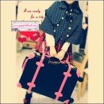 """กระเป๋าเดินทางดีไซน์วินเทจสไตล์เกาหลี วินเทจอัพเกรด 4 ล้อ """"Black/Rose Pink"""" Vintage Retro Suitcase Korea Style ไซส์ 20"""", 22"""", 24"""" หนัง PU (Pre-order) ราคาสินค้าอยู่ด้านในค่ะ"""