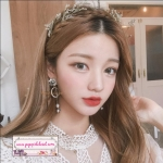 ต่างหูระย้าแฟชั่นสไตล์เกาหลี Fashion Jewelry Luxury Rhinestone Flower Round Circle Long Tassel Pearl Drop Earrings