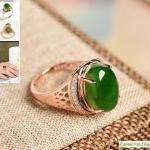 แหวนหัวหยกnephrite สีเขียวจักรพรรดิ์