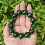 สร้อยข้อมือลูกปัดหินหยก สีเขียวจักรพรรดิ ขนาด 16 mm.