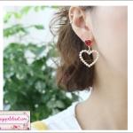 ต่างหูแฟชั่นสไตล์เกาหลี Korean Red Rhinestone Hollow Simulated Pearl Love Heart Drop Earrings ดีไซน์มินิฮาร์ทน่ารักจ้า