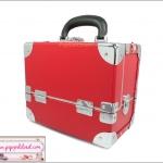 กระเป๋าเครื่องสำอางดีไซน์เมคอัพอาร์ทติสท์ สไตล์เกาหลี สีแดง Size S (W25xD15xH21cm.) Made in Korea (Pre-order)