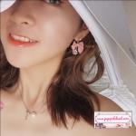 ต่างหูแฟชั่นสไตล์เกาหลี New Cute Pink Bow Luxury Rhinestone Drop Dangle Earrings