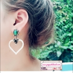ต่างหูแฟชั่นสไตล์เกาหลี Vintage Green Crystal Drop Earring Hollow Out Lover Heart Pearl Silver Korean Style