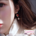 ต่างหูแฟชั่นสไตล์เกาหลี Luxury Korean Red Rhinestone Love Heart Drop Earring Sweet Charm Pearl Earring
