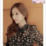 เสื้อชีฟองสีดำซีทรูลายดอกแขนยาว คอระบายลุคสาววินเทจ สไตล์เกาหลี