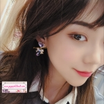 ต่างหูแฟชั่นสไตล์เกาหลี Romantic Crystal Stone Heart Love Drop Rhinestone Long Jewelry Earrings