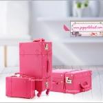 """กระเป๋าเดินทางวินเทจอัพเกรดสไตล์เกาหลี 4 ล้อ ดีไซน์เพื่อความคล่องตัวในการใช้งาน Red Rose Vintage Suitcase ไซส์ 20"""", 22"""", 24"""" หนัง PU (Pre-order) *ราคาสินค้าอยู่ด้านในค่ะ"""