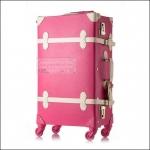 """กระเป๋าเดินทางดีไซน์วินเทจสไตล์เกาหลี วินเทจอัพเกรด 4 ล้อ Red Rose/White Vintage Suitcase Korea Style ไซส์ 20"""", 22"""", 24"""" หนัง PU (Pre-order) *ราคาสินค้าอยู่ด้านในค่ะ"""