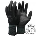 ถุงมือโพลีเคลือบ PU สีดำ (PU Palm Fit)