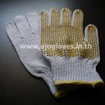 ถุงมือทอเสริมจุดพีวีซี สีเหลือง