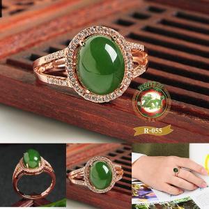 R0055แหวนหัวหยก Tian Biyu สีเขียวจักรพรรดิ์