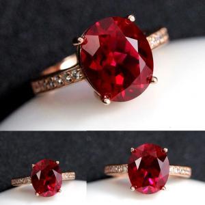 R0053 แหวนทัวร์มาลีน สีทับทิมแดง
