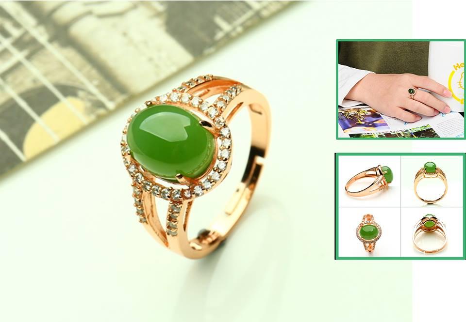 แหวนหัวหยก Tian Biyu สีเขียวจักรพรรดิ์