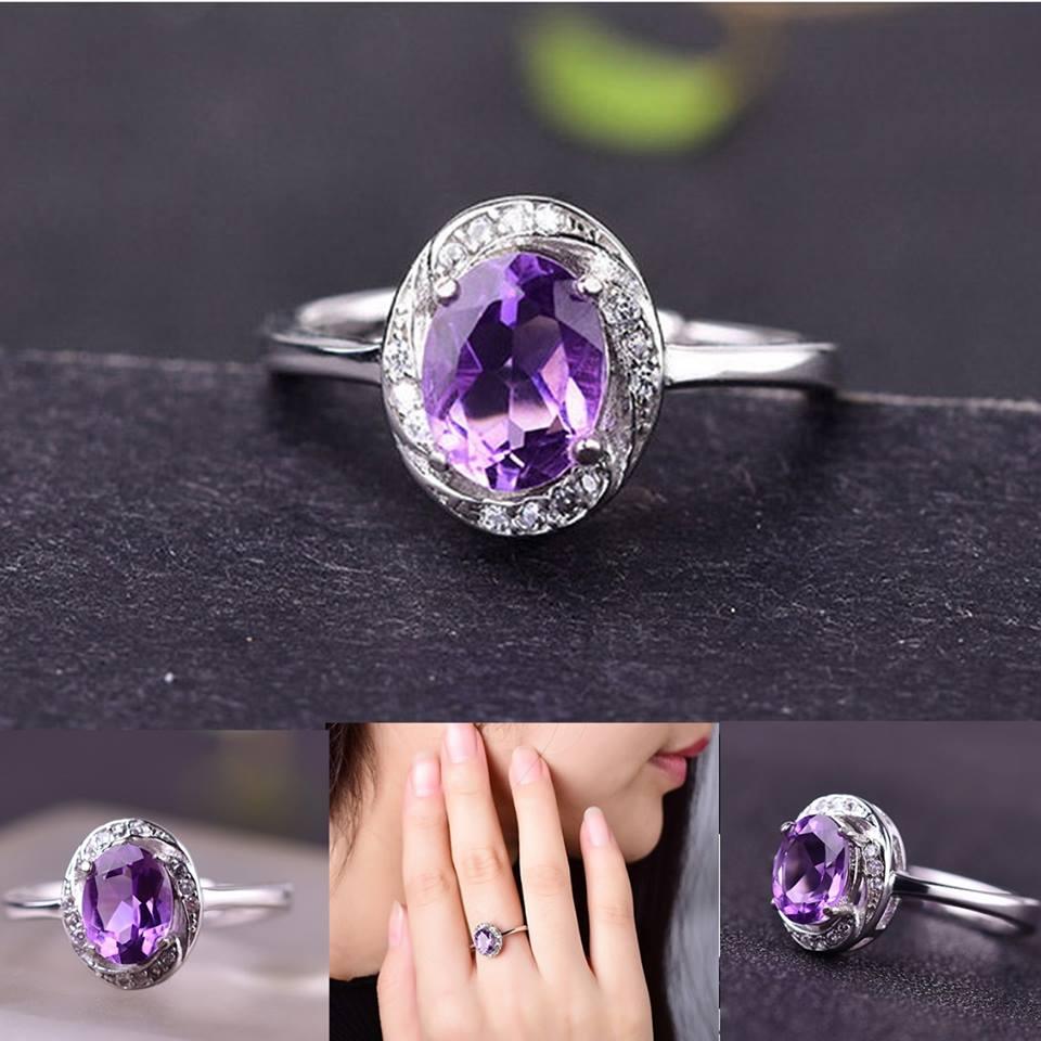 R0048 แหวนอเมทิสต์ อัญมณีสีม่วง