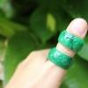 แหวนหยกพม่าสลักลาย ขนาด 12 mm.