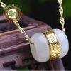 สร้อยคอ+จี้หยก nephrite หลอดหยกดูดทรัพย์ มั่งมี ร่ำรวย โชคลาภ อุดมสมบูรณ์