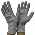 ถุงมือกันบาดระดับ 5 เคลือบPUสีเทา
