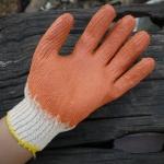 ถุงมือผ้าทอเคลือบยางพาราสีส้ม