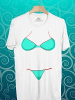 BP114 เสื้อยืด บิกีนีสีทะเล
