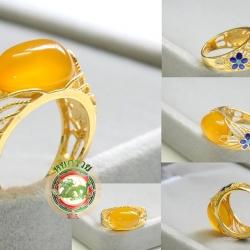 R0051แหวนหินโมรา Chalcedony / Agate