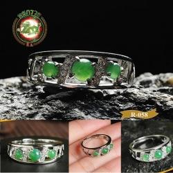 R0058แหวนหัวหยก Tian Biyu สีเขียวจักรพรรดิ
