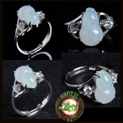 R0039แหวนหัวหยกพม่า สีงาช้าง