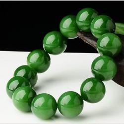 สร้อยข้อมือลูกปัดหินหยกHotan เขียวจักรพรรดิ์ ขนาด 16 mm.
