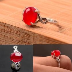 R0041แหวนหินโมรา Chalcedony / Agate