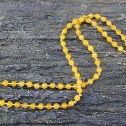 สร้อยคอลูกปัดหิน สีเหลือง
