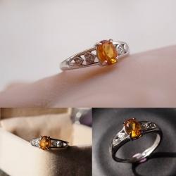 R0052แหวนพลอยธรรมชาติ สีอำพัน