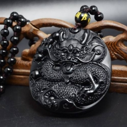 จี้ Black Dragon หินออบซิเดียน (หินภูเขาไฟ)