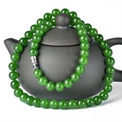 สร้อยคอหยก ซินเจียง สีเขียวจักรพรรดิ์