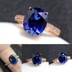 R0050แหวน Tanzanite อัญมณีสีฟ้า
