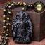เทพเจ้ากวนอู 關羽 ปางยืนถือง้าว(ลี้กวนกง)หินออบซิเดียนสีดำ(หินภูเขาไฟ) thumbnail 1